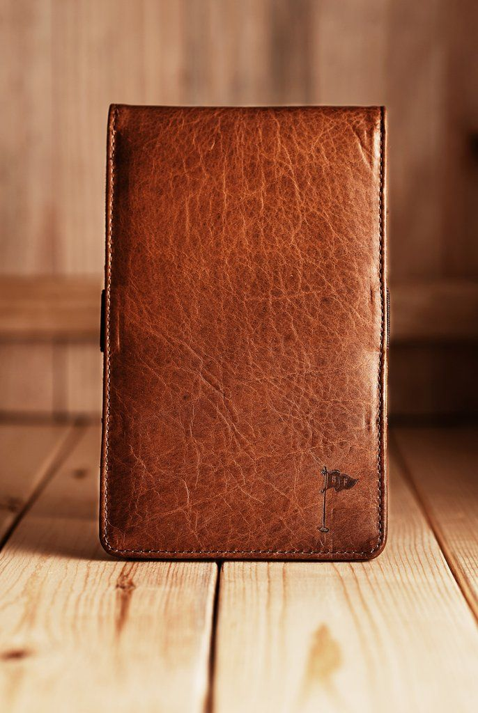 Handmade Leather Golf Scorecard Holder Yardage Book In American Bison Tobacco
