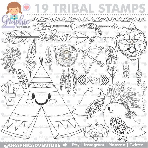 Boho Stamps Tribal Stamps Commercial Use Dreamcatcher Stamps Bird Stamps Feather Stamps Cactus Stamps Boho Coloring Papes Boho Digi Stamp Digital Stamps Coloring Pages