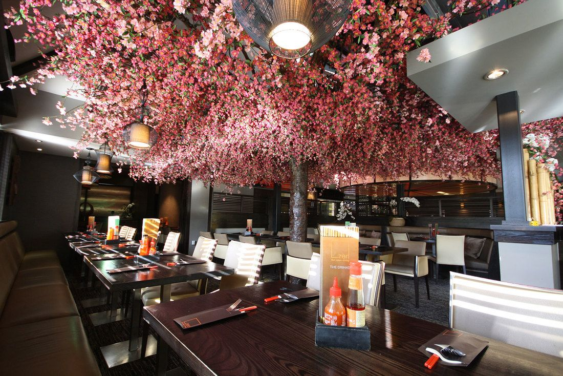 002 Colourful Large Faux Cherry Blossom Tree Restaurant Design Japanese Interior Design Artificial Cherry Blossom Tree