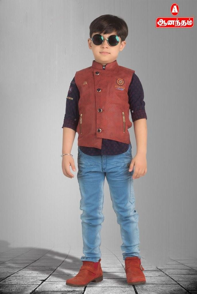 ad31c5dece6 Trendy Boys Collections Cotton Shirt and Jean Pant With Over Coat model  Only   Anantham Silks