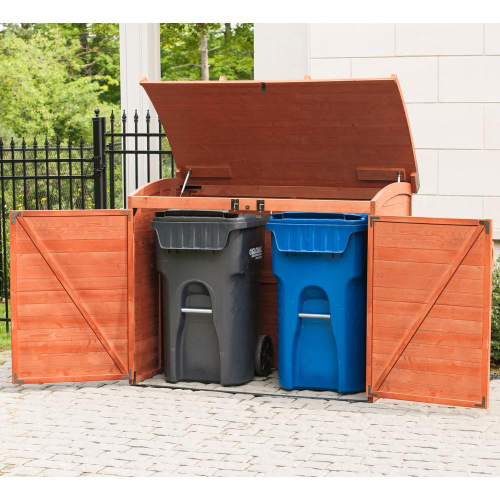 Leisure Season 5 Ft 2 In X 2 Ft 10 In X 4 Ft Cypress Horizontal Refuse Storage Shed Rss2001 The Home Depot In 2020 Wooden Storage Sheds Wood Storage Sheds Outdoor Trash Cans