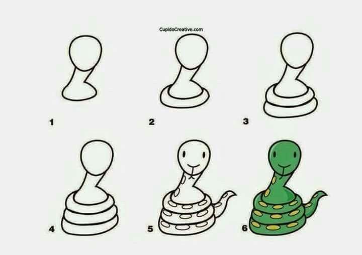 Serpiente | Dibujos paso a paso | Pinterest