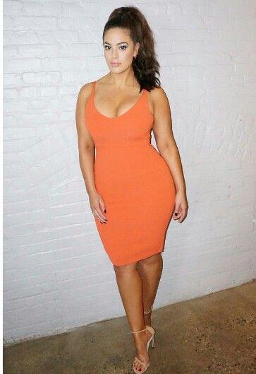 ec276e201da Orange bodycon dress. Orange bodycon dress Ashley Graham Outfits ...