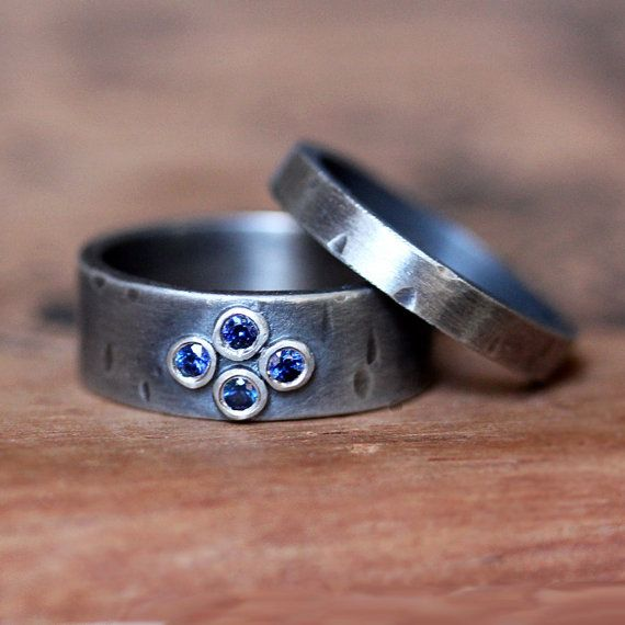Blue sapphire engagement ring set rustic texture oxidized