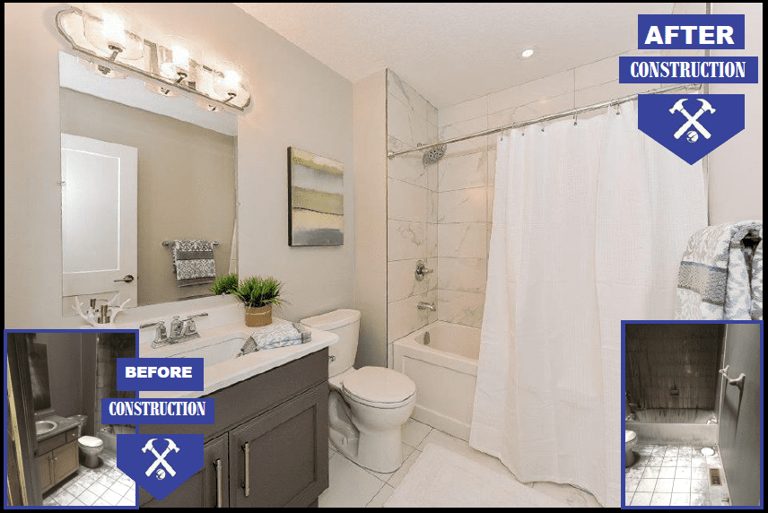 Before and After photo of this bathroom! This house had a