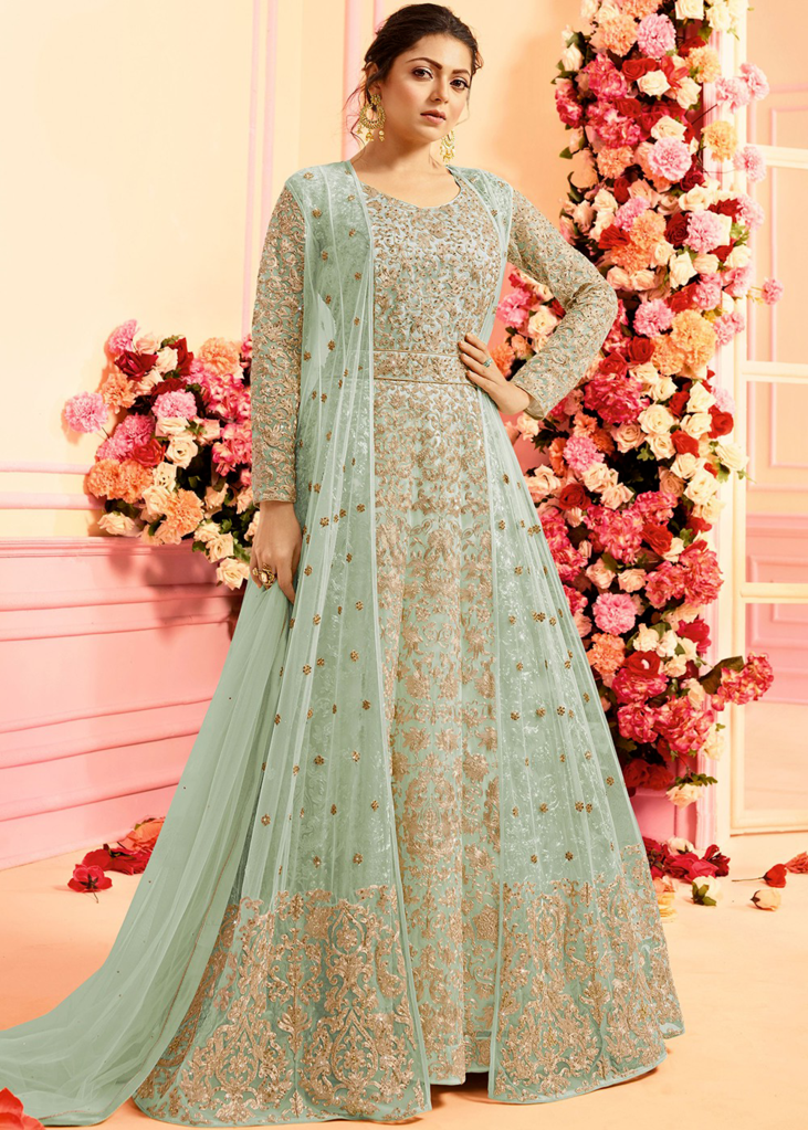 fb81892d9a Powder Blue Designer Heavy Embroidered Net Evening Anarkali Gown in ...