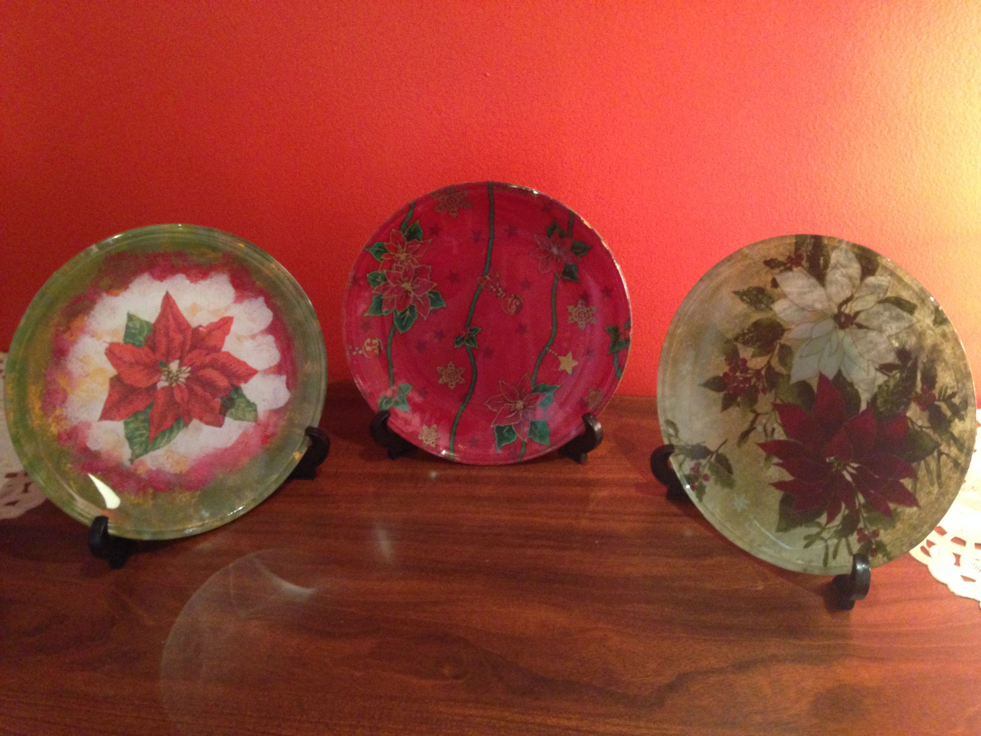 decopage plates with cloth and paper napkins
