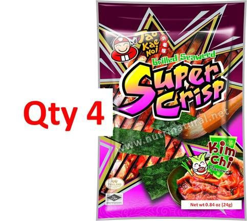 This listing is for 4 Super Crisp Grilled Seaweed Kimchi Flavor 24g (0.84oz) Bags from Tao Kae Noi.  We came across these a few months back and at first thought this would be gross and it would not sell...boy were we wrong! We started giving out sample to our customers and everyone was scared t...