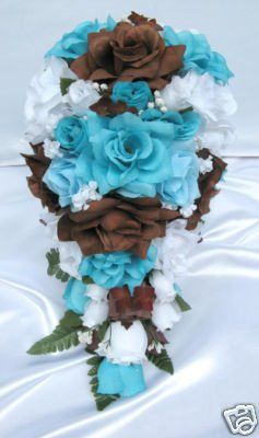 Wedding Bouquet Cascading Blue Brown And White Roses Bouquet
