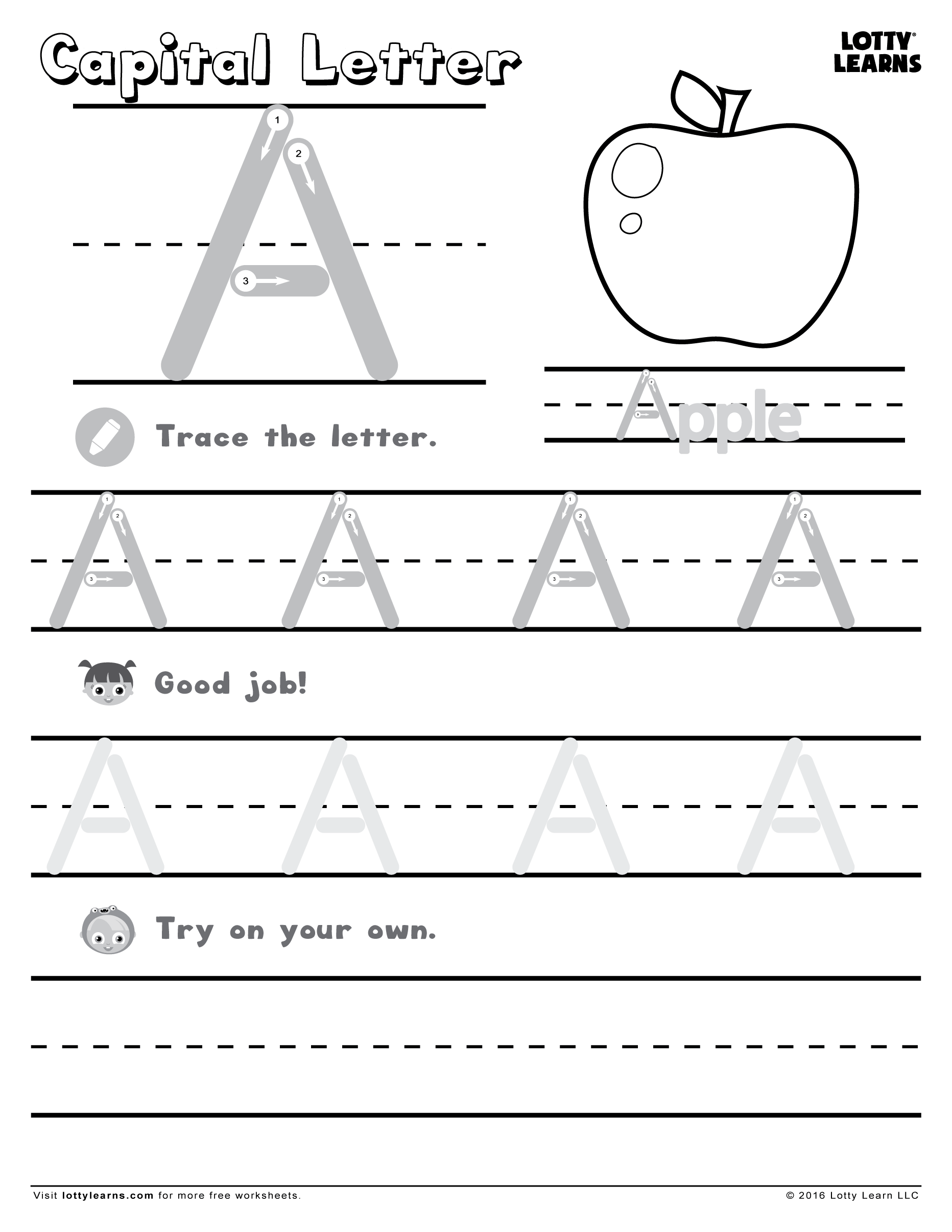 Capital Letter A Lotty Learns Handwriting Worksheets For Kids Handwriting Practice Sheets Alphabet Practice Sheets [ 2412 x 1864 Pixel ]
