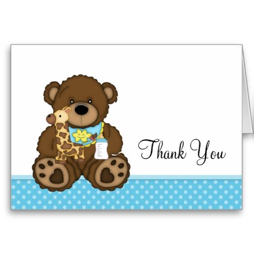 Baby Bear Blue Polka Dots Thank You Card