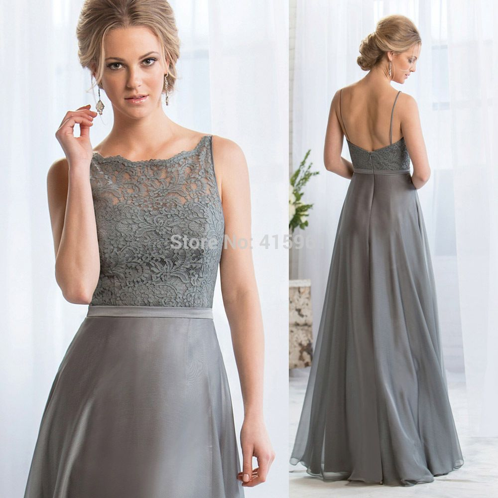 Grey long bridesmaid dresses lace backless wedding guest wear