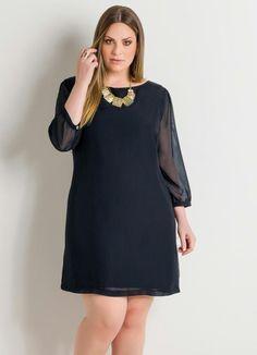 9065b6de8 Vestido com Transparência Preto Plus Size - Quintess | vestidos gg ...