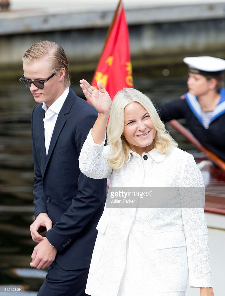 Crown Princess Mette-Marit of Norway, and her son, Marius Borg Hoiby on a visit to Trondheim, during the King and Queen of Norway's Silver Jubilee Tour, on June 23, 2016 in Trondheim, Norway.