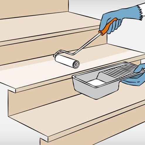 renovieren – Schritt für Schritt Holztreppe renovieren in 6 Schritten Schritt 4 Grundierung auftragenHolztreppe renovieren in 6 Schritten Schritt 4 Grundierung auftragen