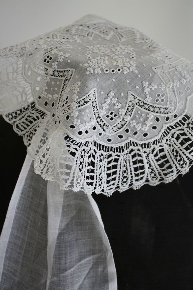 Rare Antique Georgian Regency c.1810 Whitework Embroidered Fall Cap ...
