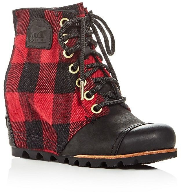 2d8faed0199 Sorel Women s PDX Leather   Plaid Lace Up Wedge Booties  affiliatelink