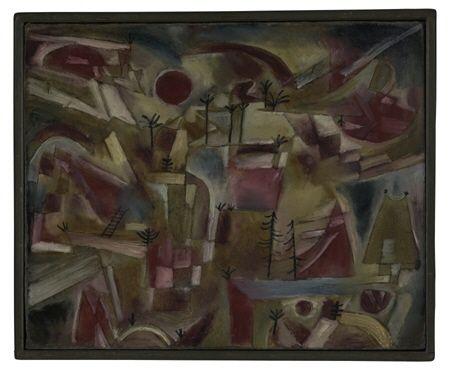 """Paul Klee          """"Paysage rocheux"""" (avec palmiers et sapins)          1919, 155            huile et plume sur carton          41,8 x 51,4 cm          Zentrum Paul Klee, Bern, Schenkung Livia Klee"""