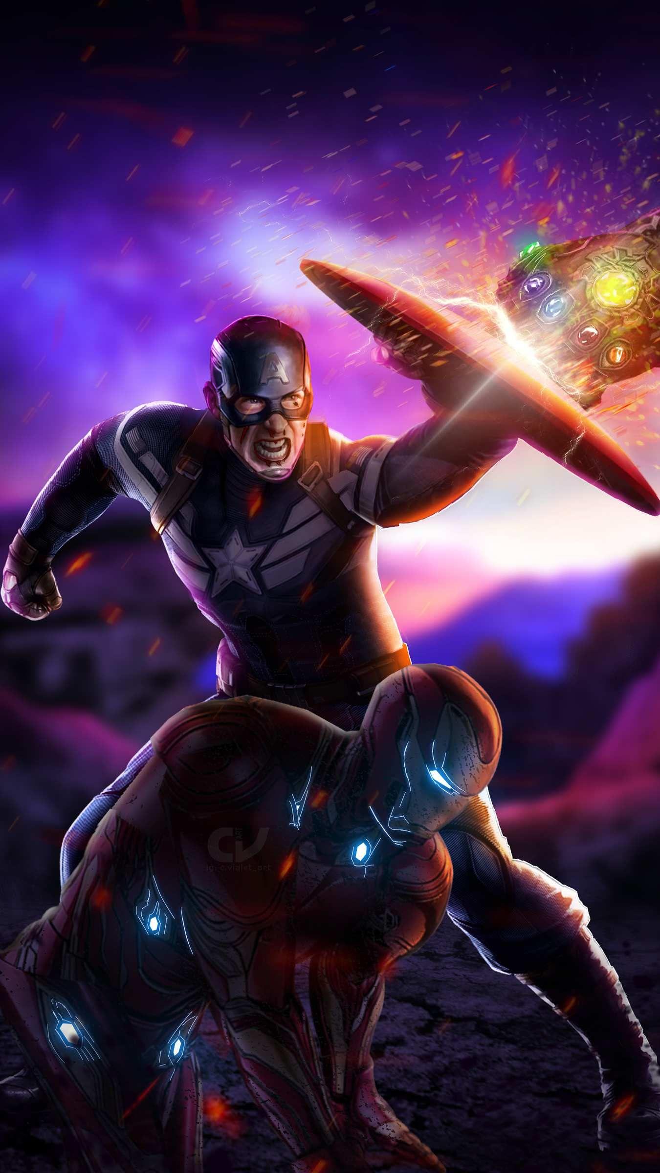 Captain And Tony Fighting Thanos Avengers Endgame Iphone Wallpaper Captain America Wallpaper Marvel Movies Avengers Wallpaper