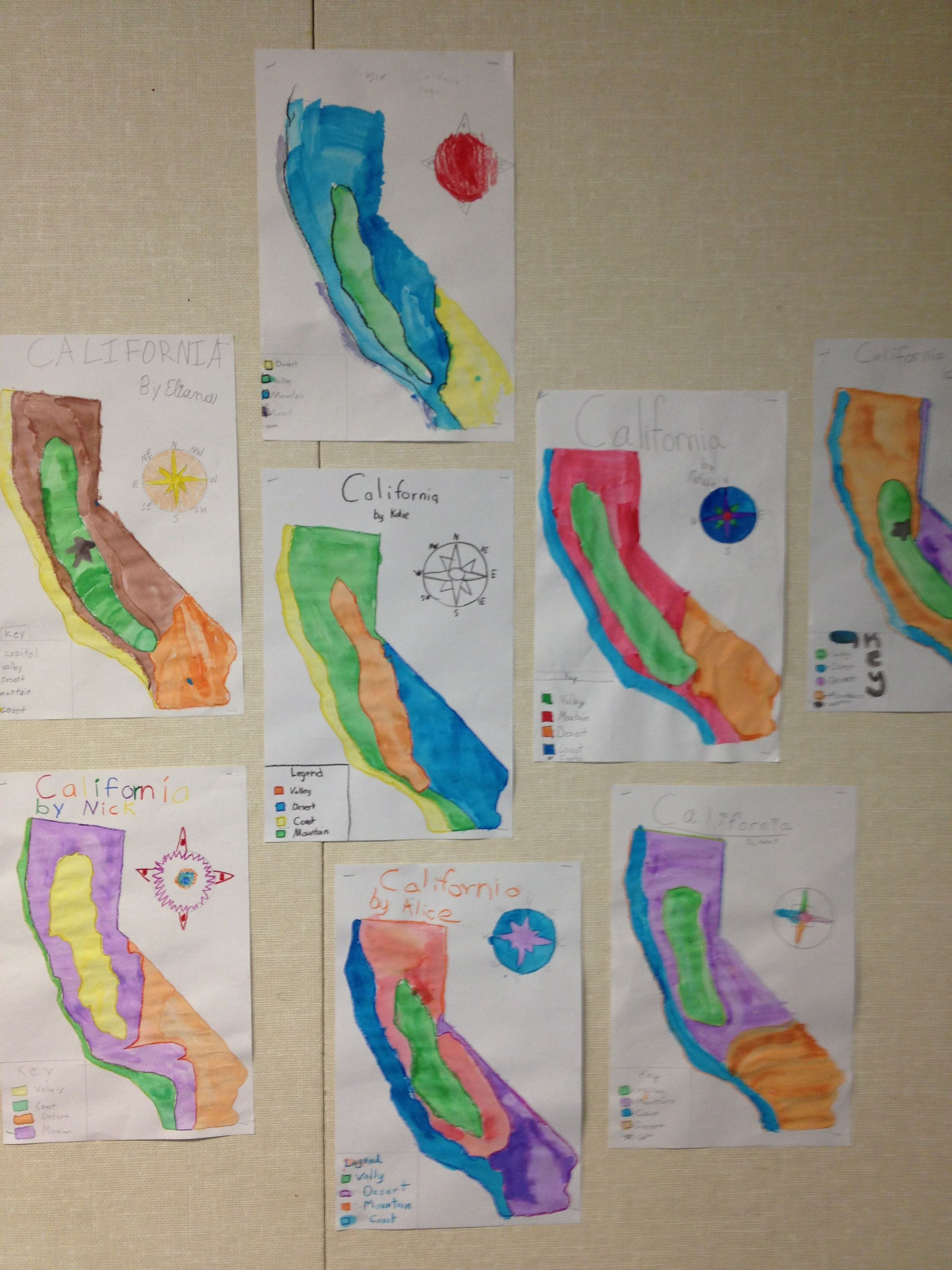 We studied the four regions of california and then the kids did