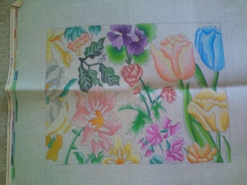 Rare Gail Marcus Needlepoint Canvas Floral Deck Chair, 2 Pcs. #GailMarcus