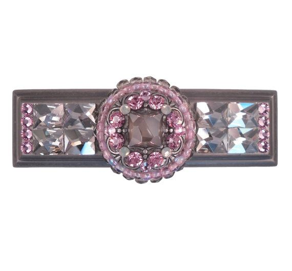 Unique Decorative Cup Pull Swarovski Crystal Pink Gray Art Deco Drawer S Dresser 3 Ca