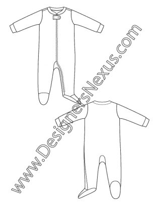 Childrens Design Flat Sketch V5 Newborn Infant One Piece Sleepwear Pajamas Free Download And More Kid Designer Childrenswear Fashion Tutorial Fashion Company