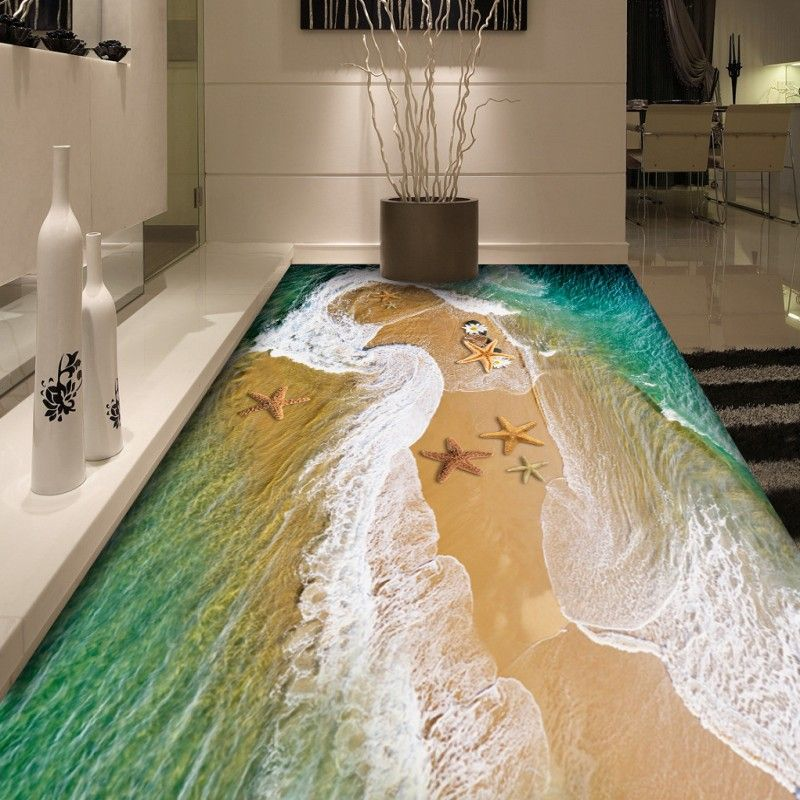 Free Shipping Custom Sea Water 3d Floor Mural Living Room Aquarium