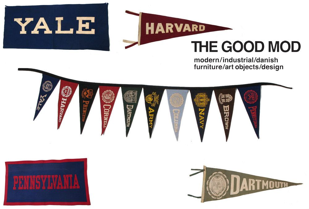 Vintage 1920s Ivy League University Pennants $50000, via Etsy - ivy league resume