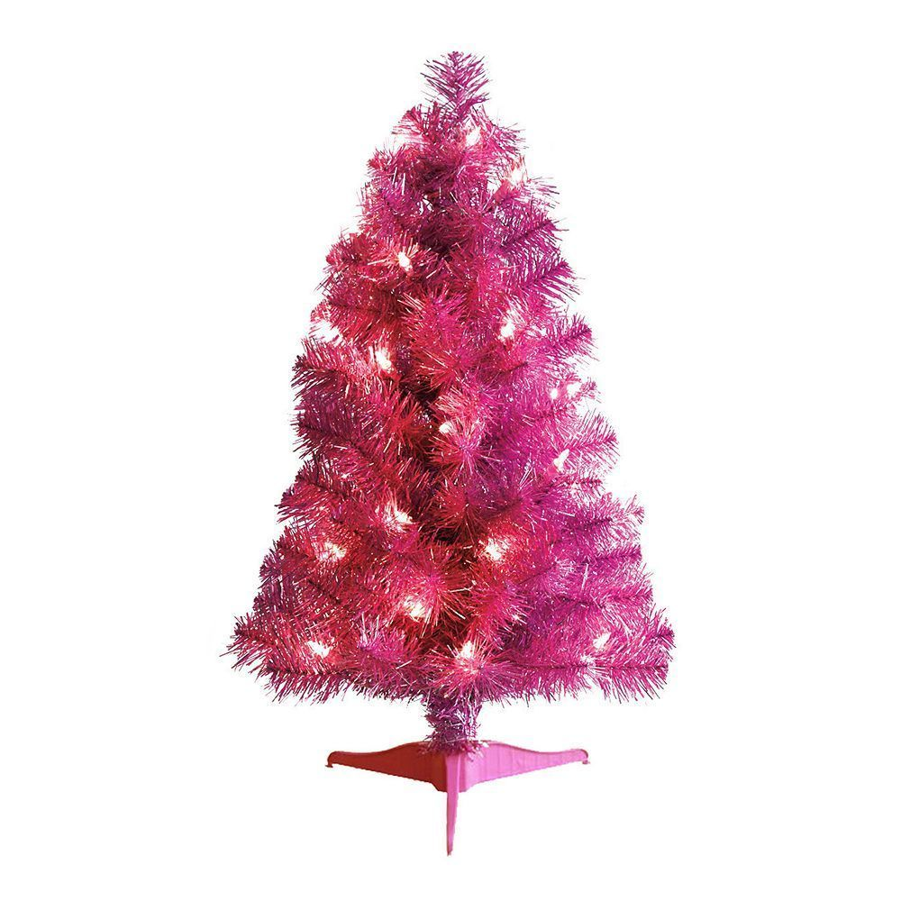 2 ft 20 light up pre lit artificial tinsel xmas tree pink 75 tips stand nib