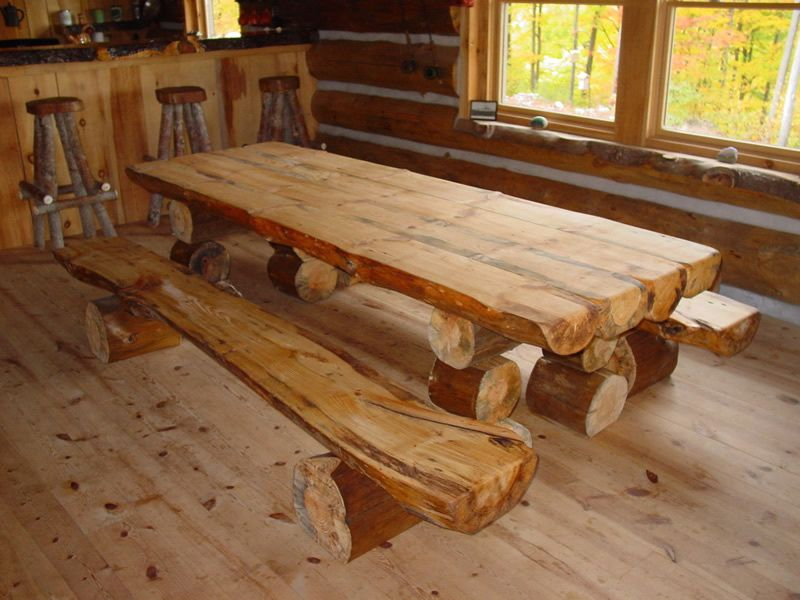 10 Gorgeously Rustic Log Tables You Ll Want For Your Cabin Log Furniture Wood Table Diy Rustic Furniture