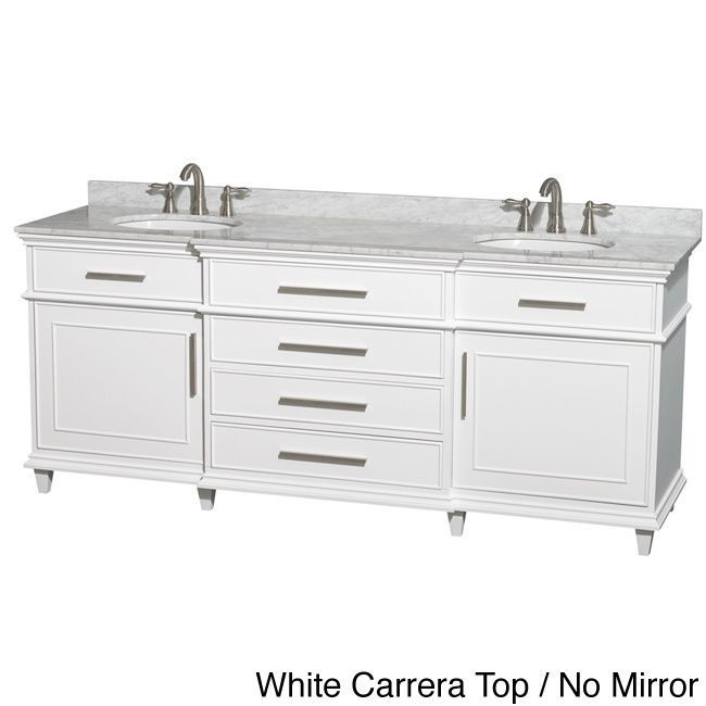 Wyndham Collection Berkeley White 80 Inch Double Bathroom Vanity