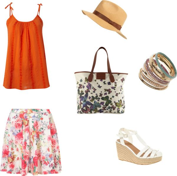 Floral Skirt & Cami, created by eclecticspectrum on Polyvore