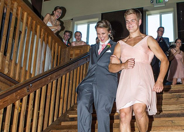Bridesmaid And Groomsman Swap Outfits For Wedding Party Entrance