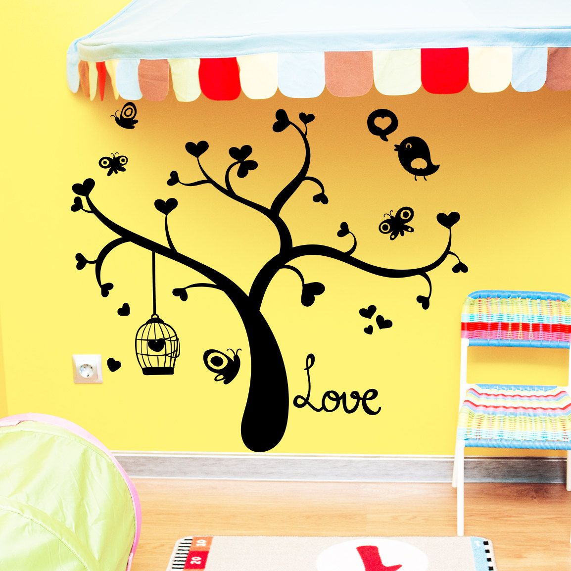 Wall Decal Tree Silhouette Hearts Bird Decals by DecalsfromDavid ...
