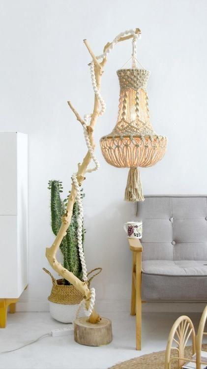Photo of Boho Hanging light Chandelier lampshade, bohemian macrame lampshade Rustic Farmhouse Nursery decor