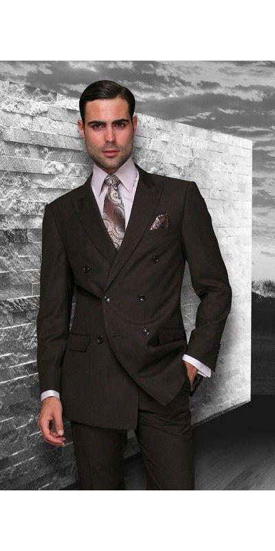 Men's 2 Pc DB Fashion Suit by STATEMENT - Brown
