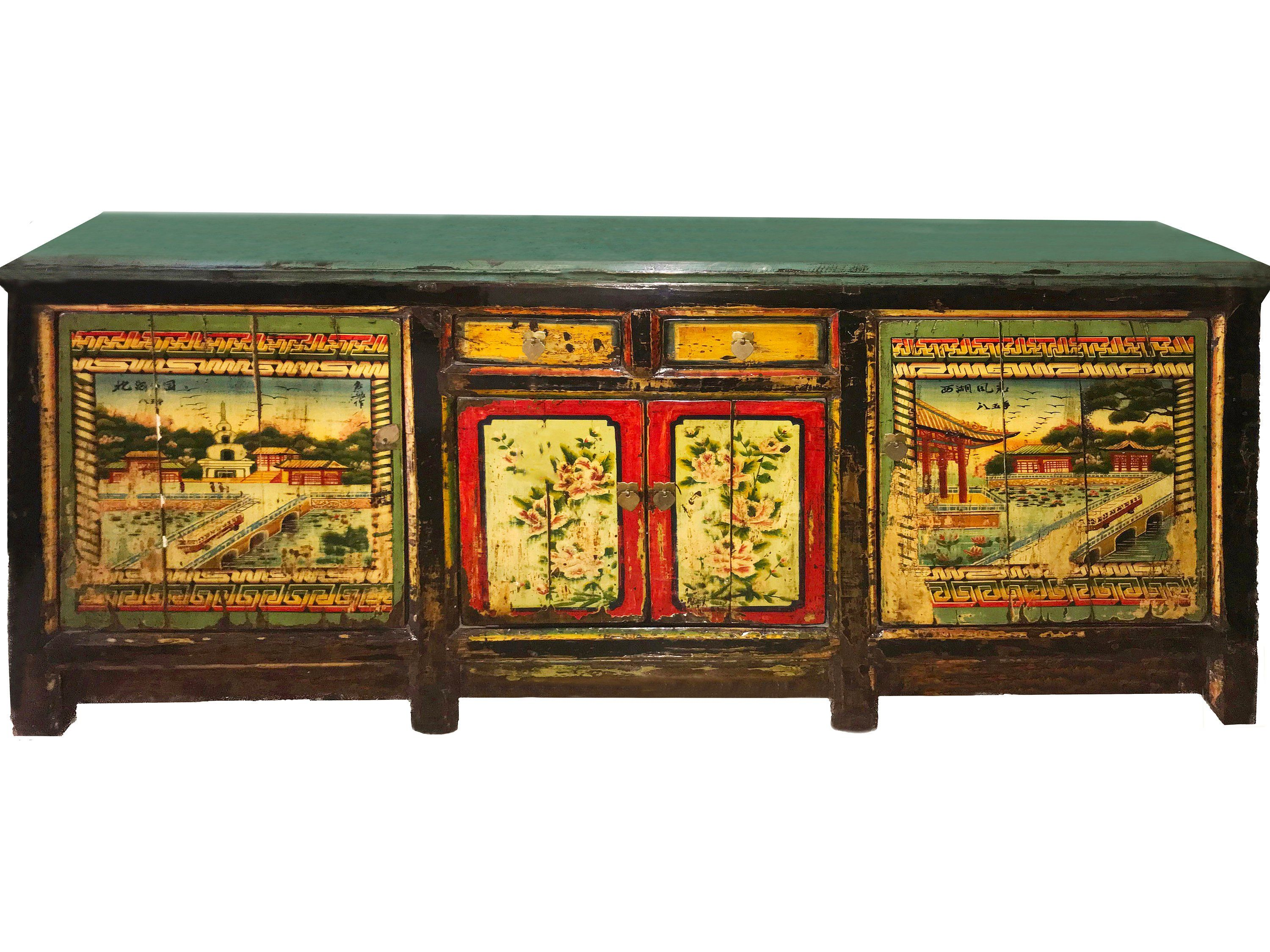 Stunning 20th Century Vintage Mongolian Hand Painted Cabinet Etsy Vintage Chinoiserie Painting Cabinets Vintage Buffet