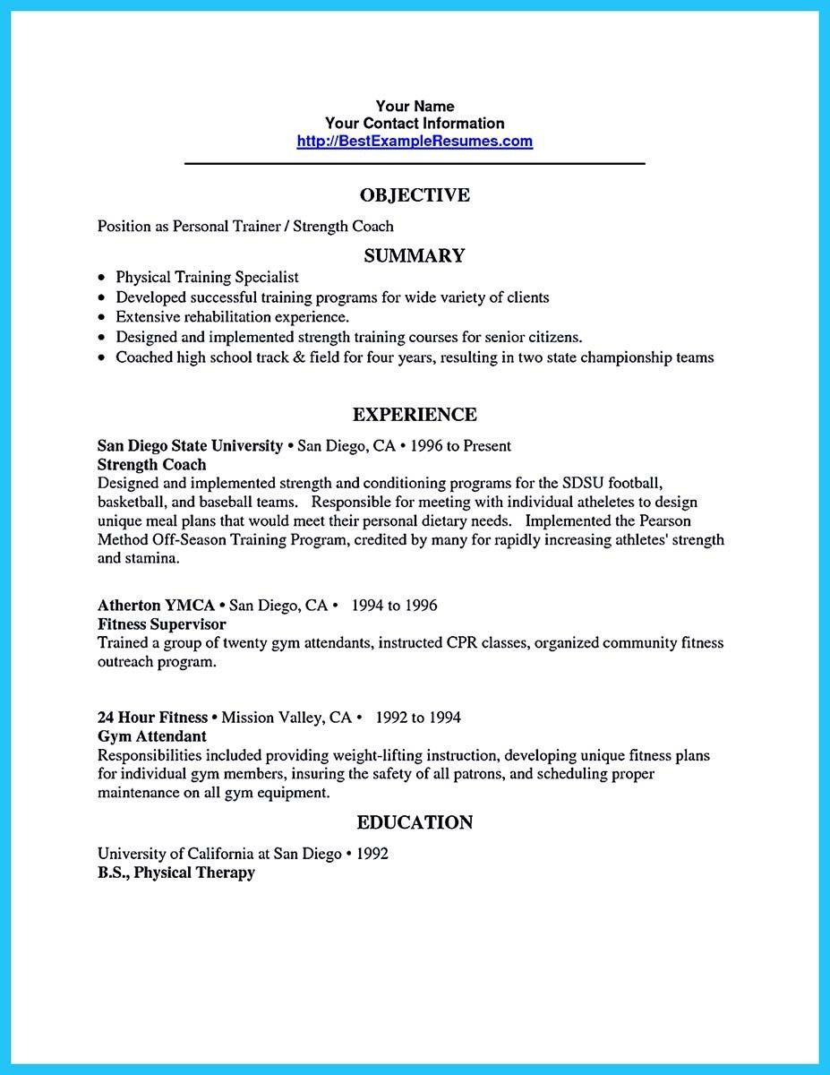 Writing Your Athletic Training Resume Carefully Personal Resume