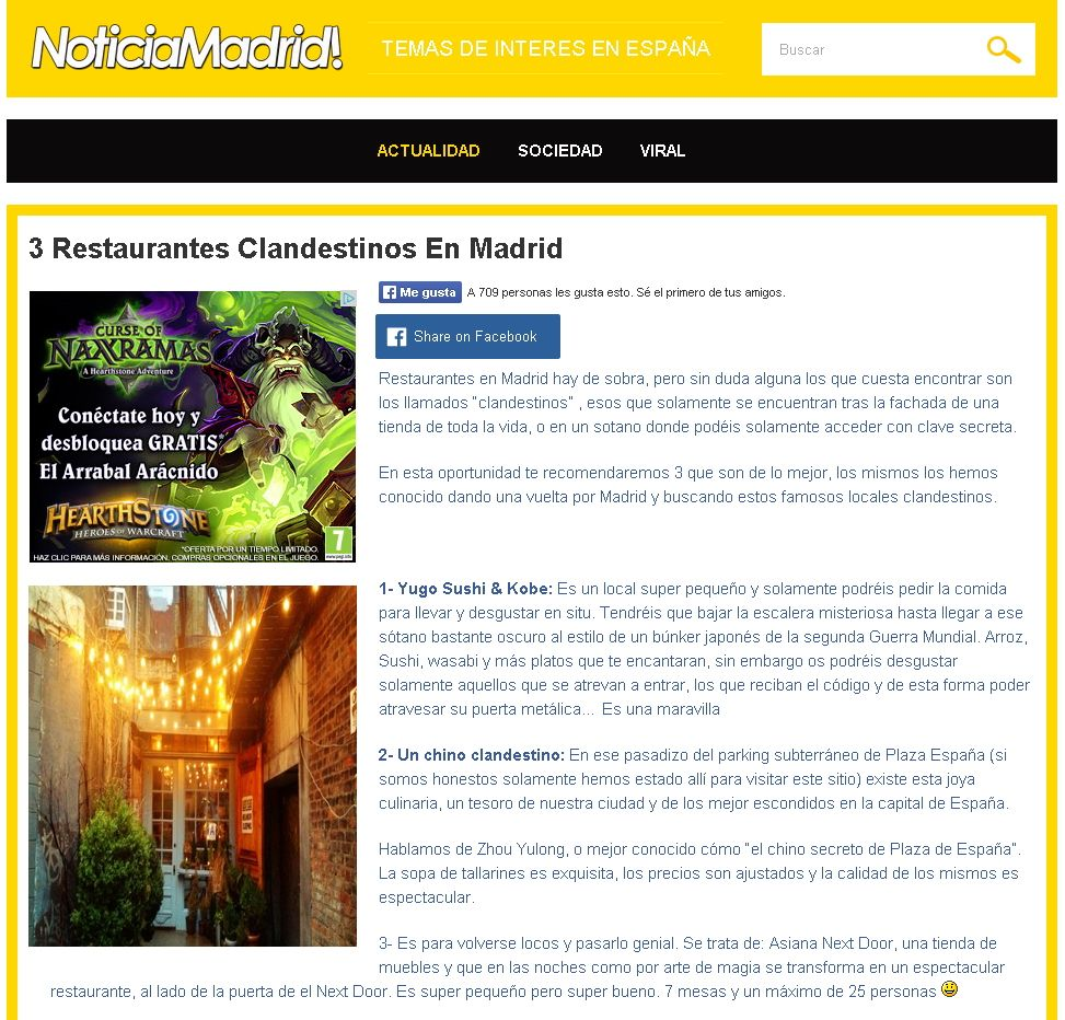 Tres restaurantes clandestinos en Madrid, de lo mejor. http://www.clubyugo.net/2014/08/tres-restaurantes-clandestinos-en.html