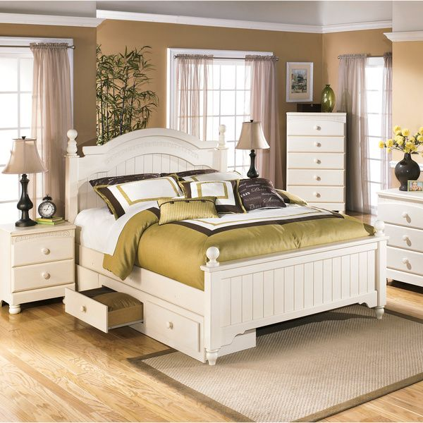 Ashley Cottage Retreat Cream (Ivory) Poster Bed Set with Under - Poster Bedroom Sets