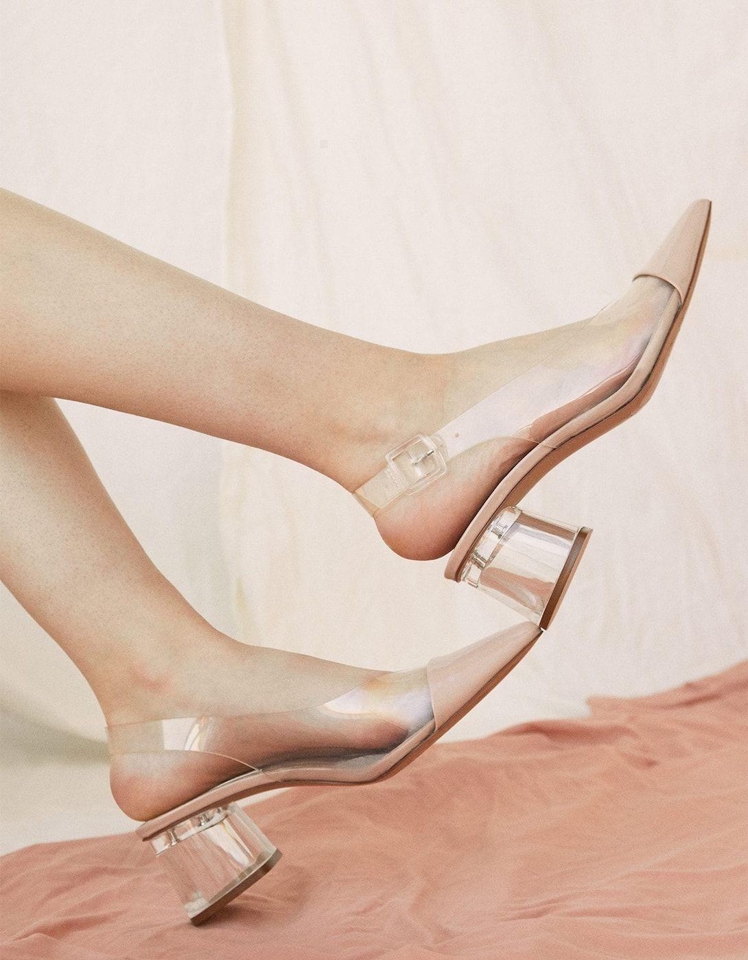 1356d5405f6 Vinyl mid heel slingback shoes in 2019 | ♛ Smart Casual ♛ To Buy ...