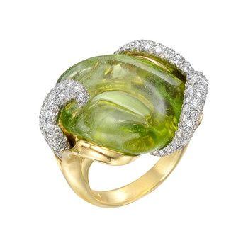 Nicholas Varney Carved Peridot & Diamond Cocktail Ring | Betteridge