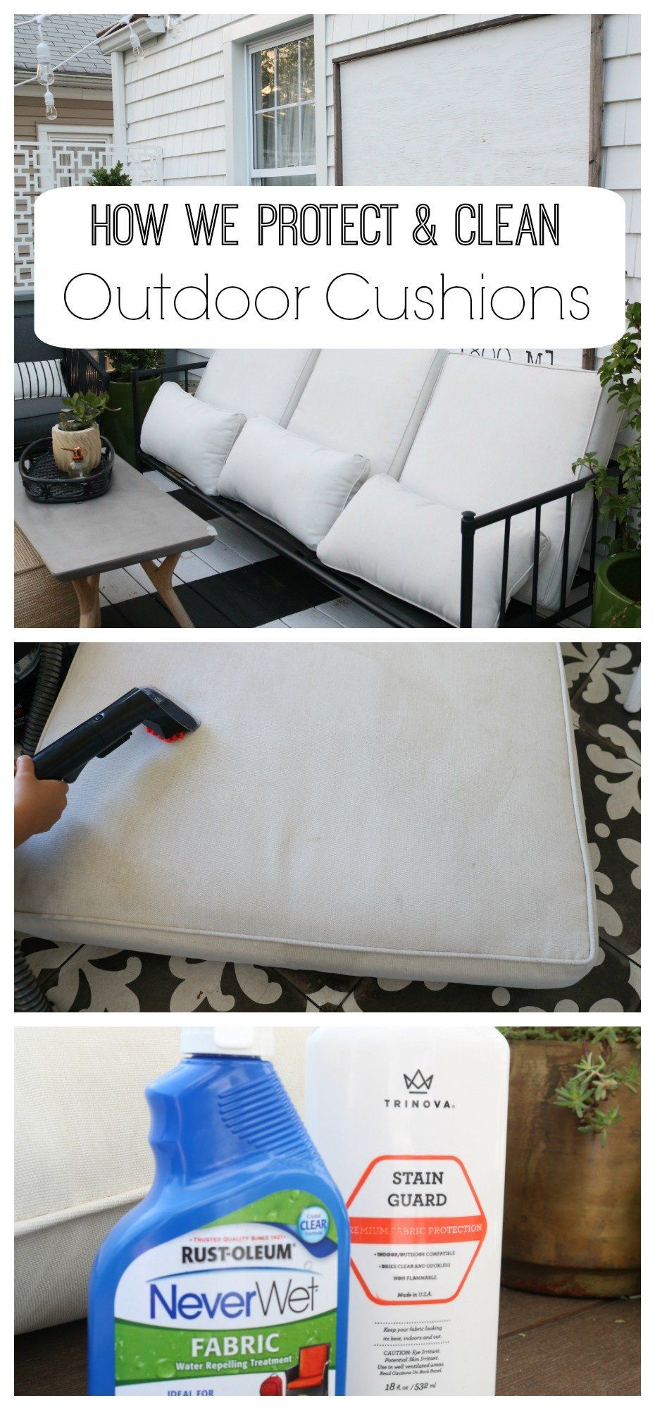 How We Clean Our Outdoor Cushions Indoor Cushions And Rugs Cleaning Outdoor Cushions Outdoor Cushions Patio Furniture Cushions