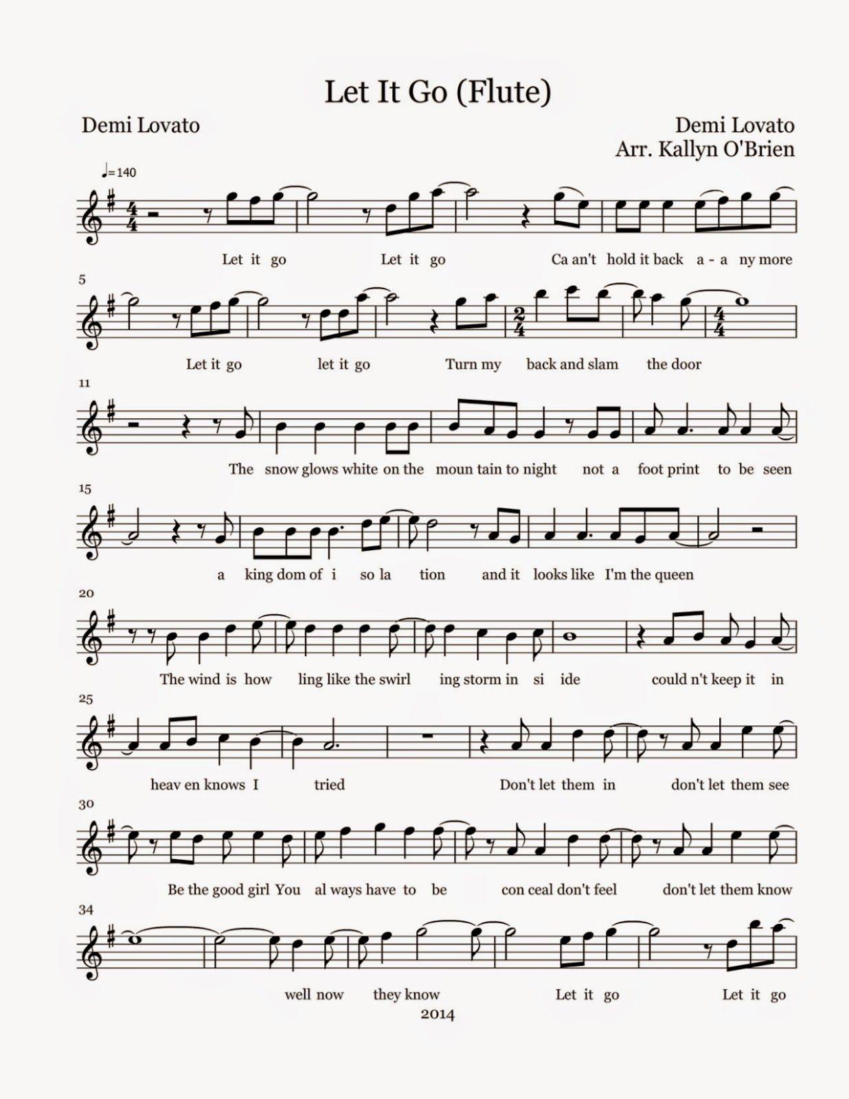 Let It Go Sheet Music Flute Sheet Music Flute Sheet Music