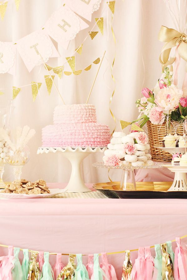Hot Air Balloon First Birthday Brunch Ombre ruffle cake Great