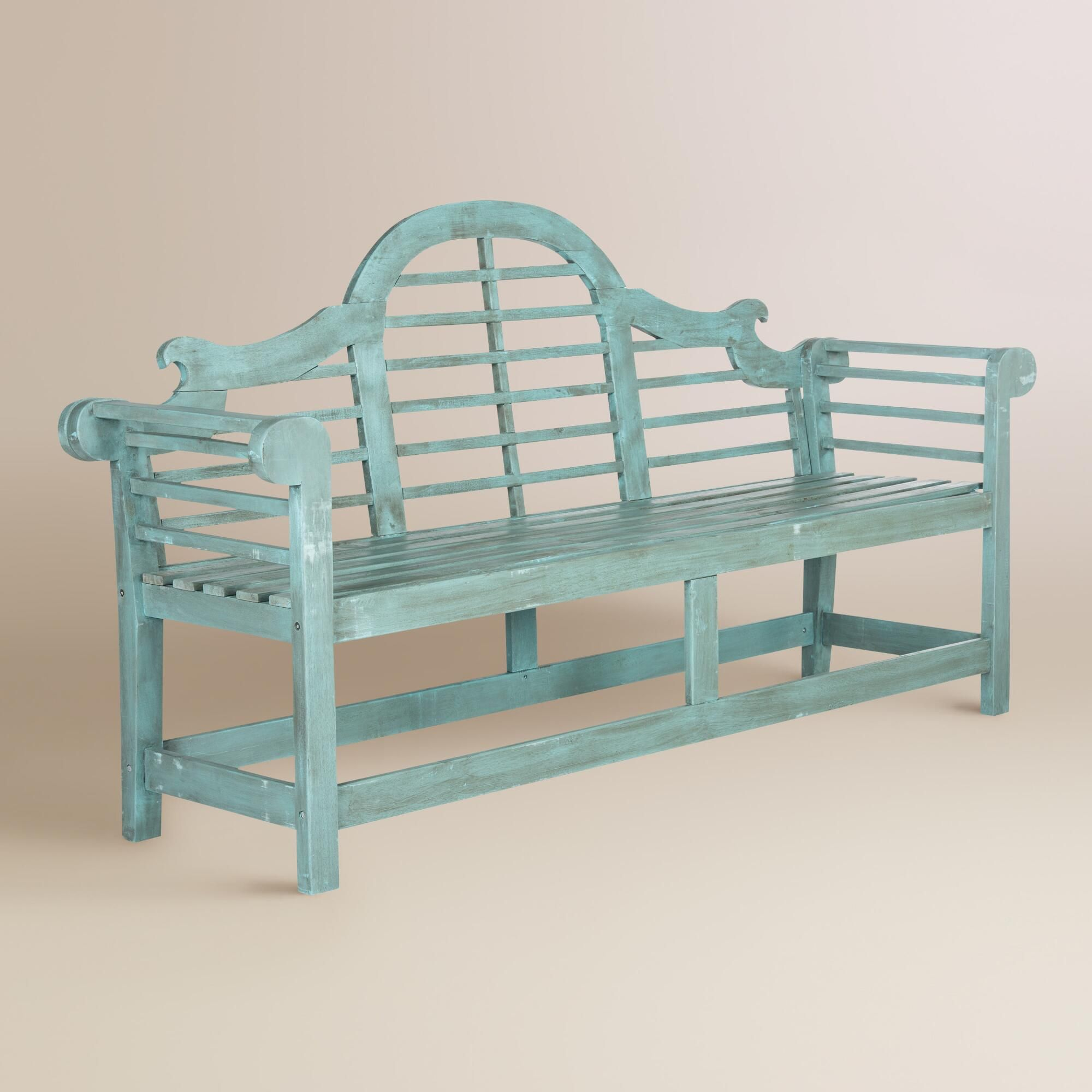 Strange Sea Blue Wood Nerano Outdoor Patio Bench By World Market In Gmtry Best Dining Table And Chair Ideas Images Gmtryco