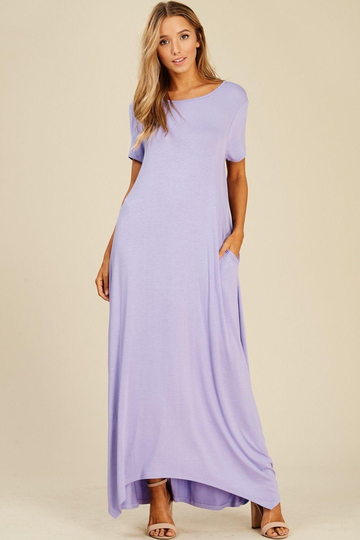 ba2880b1bb Short Sleeve Uneven Hem Maxi Dress Style  D5418 Knit dress featuring solid