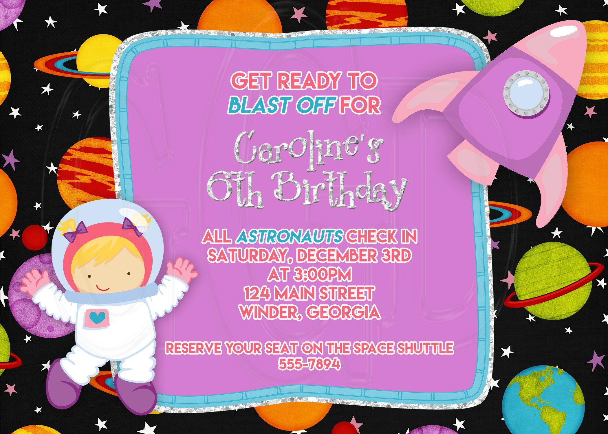 Astronaut Invitation, astronaut birthday, outer space