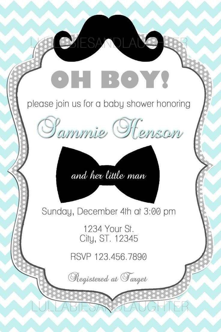 Custom Chevron Mustache Boy Baby Shower Invitation Digital File